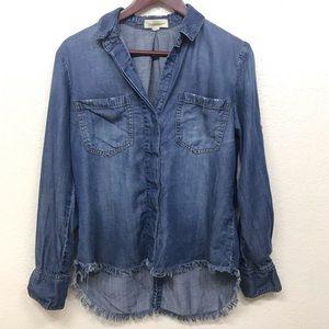 CLOTH & STONE Frayed Hem Split Back Chambray S